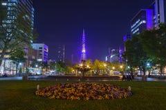 The beautiful Odori Park with TV Tower at night Royalty Free Stock Photos
