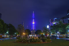 The beautiful Odori Park with TV Tower at night Royalty Free Stock Photo