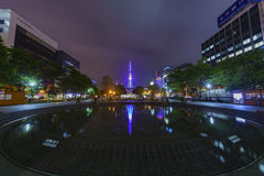 The beautiful Odori Park with TV Tower at night Royalty Free Stock Images