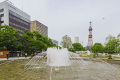 The beautiful Odori Park with TV Tower Stock Images