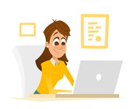 Beautiful office girl sitting  in front of laptop and working Stock Photo