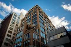 Beautiful office building in Tribeca district, Manhattan, New York. Beautiful office industrial building in Tribeca district, Manhattan, New York royalty free stock photos