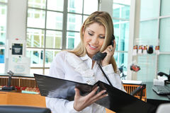 Beautiful office lady talking on the phone and checking profile. A beautiful office lady talking on the phone and checking profile Stock Images