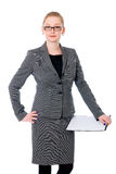 Beautiful office woman in glasses. Royalty Free Stock Photos
