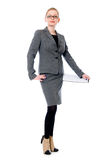 Beautiful office woman in glasses. Royalty Free Stock Images