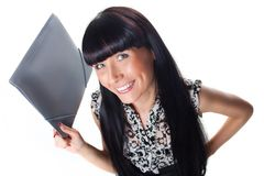 Beautiful ofice manager with folder. Royalty Free Stock Images