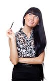 Beautiful ofice manager with a pen. Royalty Free Stock Photography