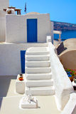 Beautiful Oia in Santorini island, flight of stairs Royalty Free Stock Images
