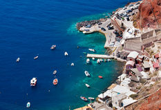 Beautiful Oia in Santorini island, Harbor Stock Photos