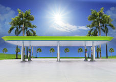 Beautiful oil fuel gasoline service station under  Royalty Free Stock Photo