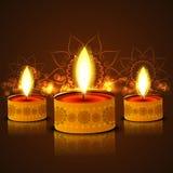 Beautiful oil lamp reflection colorful diwali backgroun Stock Photography