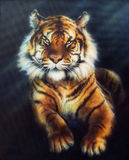 A beautiful oil painting on canvas of a mighty tiger looking up, multicolor Illustration royalty free illustration