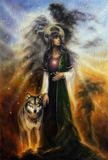 beautiful oil painting on canvas of a mystical fairy priestess with a wolf by her side Stock Photography