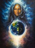 spiritual Illustration,Beautiful oil painting on canvas of a woman goddess in space, eye contact  Stock Images