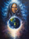Beautiful oil painting on canvas of a woman goddess Lada as a mi royalty free illustration