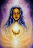 Beautiful oil painting on canvas of a woman eye contact. A beautiful oil painting on canvas of a woman goddess Lada holding a sourceful of a white light on her Royalty Free Stock Photography