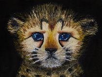 Oil painting on canvas of closeup of newborn cheetah cub isolated on black background