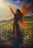 Beautiful oil painting of a fairy woman standing on a meadow. A beautiful oil painting of a female fairy goddess in enchanting historical gown, with her fairy Stock Photo