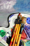 Beautiful oil painting and paintbrush Stock Photography