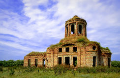Beautiful old abandoned orthodox church. Old abandoned church in Lugansk region, Ukraine royalty free stock photography