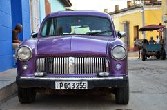 Beautiful old American car on the street of Trinidad, Cuba Royalty Free Stock Photography