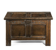 Beautiful old antique coffer trunk chest carved in oak Stock Photo