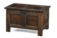 Beautiful old antique coffer trunk chest carved in oak Stock Images