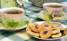 Beautiful Old Antique Tea Service In Secession Style With Biscuits Royalty Free Stock Photo