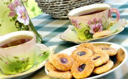 Beautiful Old Antique Tea Service With Biscui Stock Photography