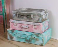 Beautiful old blue, pink and gray suitcases or bags - retro style.  Stock Image