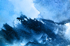 Beautiful old blue texture. Abstract watercolor painted background art wet Stock Illustration