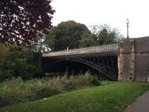 Bridge in Leamington Spa. Beautiful old bridge over the channel, in park in  Leamington Spa Royalty Free Stock Photo