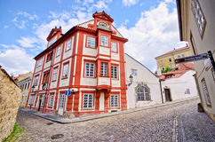 Beautiful old building on crossroad in Prague, Czech Republic Stock Photos