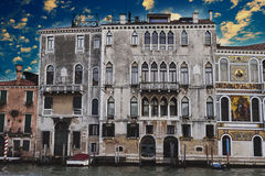 Beautiful old buildings in Grand Canal in Venice Royalty Free Stock Photography
