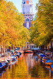 Beautiful old canal in autumn at Amsterdam, Netherlands Stock Photo