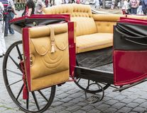 Beautiful old carriage for turists. Beautiful open old carriage for tourist in Prague Royalty Free Stock Photography