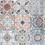 Beautiful old ceramic tile wall patterns in the park Stock Image