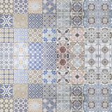 Beautiful old ceramic tile wall patterns in the park public. Stock Image