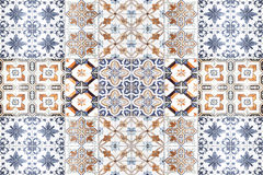 Beautiful old ceramic tiles patterns in the park public. Royalty Free Stock Photo