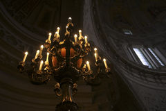 Beautiful old chandelier in church Stock Photo