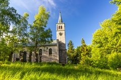 Beautiful old church in the park Royalty Free Stock Images