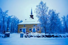 Beautiful old church in winter royalty free stock photography