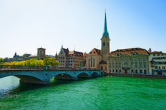 Beautiful old city Limmat River in Zurich, Switzerland. Royalty Free Stock Photos