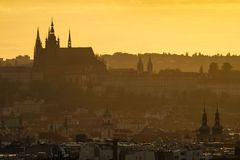 Beautiful old city sunset view Stock Photo