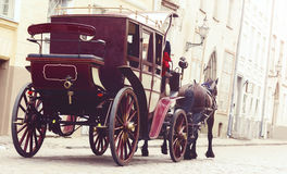 Horse and a beautiful old carriage in old town. stock images