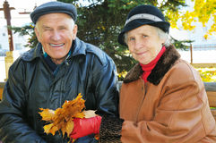 Beautiful old couple. In park Royalty Free Stock Photos