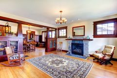 Beautiful old craftsman style home living room Royalty Free Stock Images