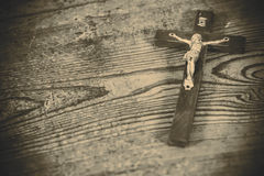 Beautiful old cross with jesus Stock Photo