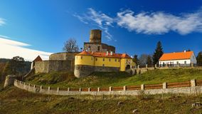 Beautiful old Czech castle Svojanov. Czech Republic Europe. Old architecture in landscape with blue sky and sun in the afternoon stock photos