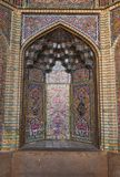 Beautiful old decorated painting mosaic on the wall of Pink mosque,Iran Royalty Free Stock Photo